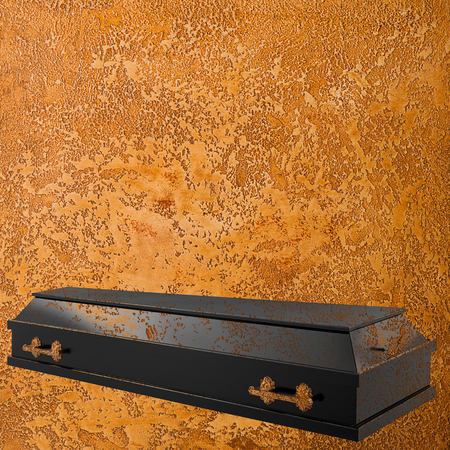 Coffin on the grange background Stockfoto