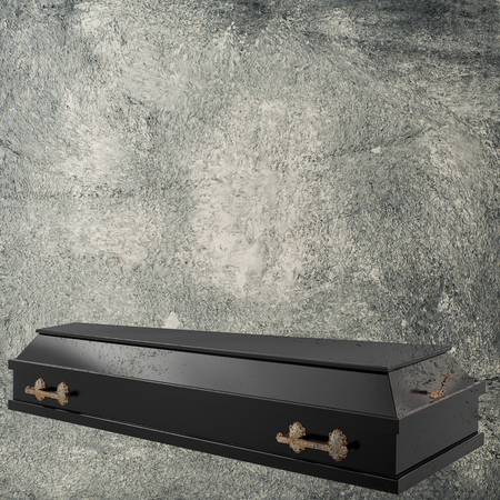 Coffin on the grange background Stock Photo