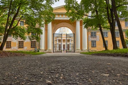 Moscow Oblast, Russia - August 26, 2016: Gate of the main palace of Arkhangelskoye estate. The object of the cultural heritage of the Russian Federation 5010216000. Moscow Oblast, Russia.