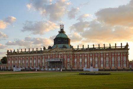 Potsdam, Germany - May 28, 2014: The New Palace (Neues Palais) at sunset
