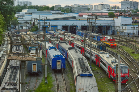 Moscow, Russia - August 10, 2017: The train of Russian Railways is waiting for departure at stations