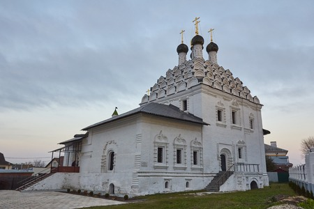 Russian Orthodox white Church at dusk