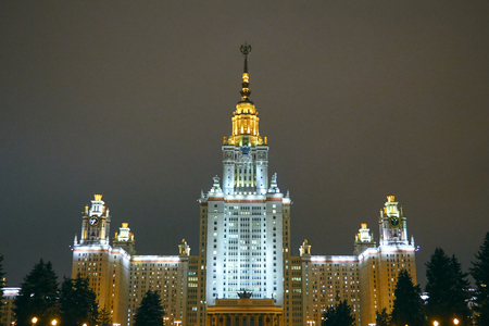 Building in the style of Stalinist architecture illuminated at night