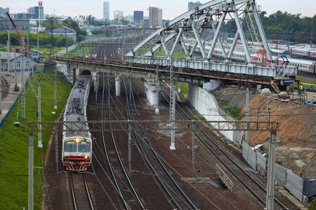 Moscow, Russia - June 29, 2017: The train of Russian Railways is moving by rail