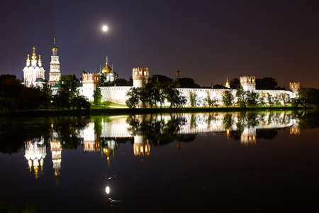 Night view of Novodevichy Convent, Moscow, Russia. Stok Fotoğraf