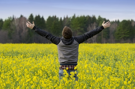 Man with raised hands stands in a field with yellow flowers photo
