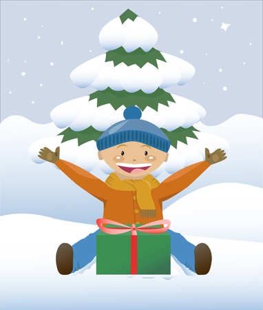 gleeful: Boy with a christmas gift Illustration