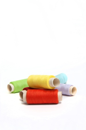 Color threads on the white background