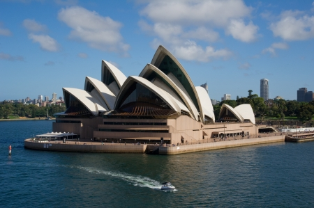 SYDNEY - DECEMBER 24: Sydney Opera House viewed from the ship on December 24, 2011 in Sydney, Australia. The Sydney Opera House is a famous arts center. It was designed by Danish architect Jorn Utzon.