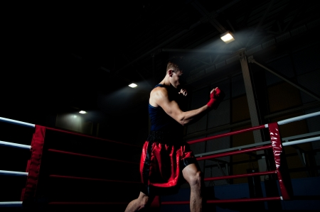 Young adult man boxing in gym  Standard-Bild