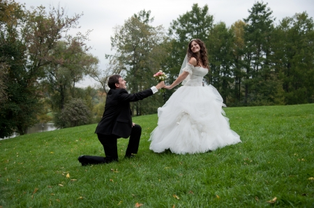 Newly married couple stands in field. Outdoor portrait of bride and groom photo