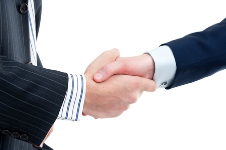 Two businessmen in a handshake isolated on white Stock Photo