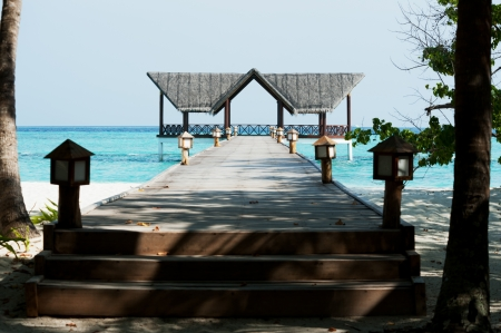 Beautiful jetty over the indian ocean photo