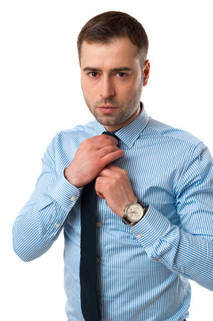 corrects: Mature Business man corrects his tie isolated on white background