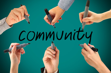 many hands: Many hands writing  community  word