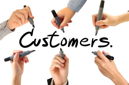 many hands: Many hands writing  customer word Stock Photo