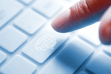 Brain symbol button Stock Photo