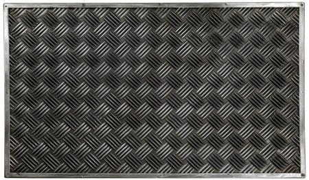Black Silver zig zag cross classic rubber doormat