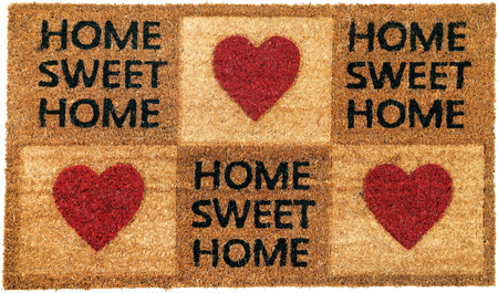 Beautiful Home sweet home peach color coir doormat with hearts