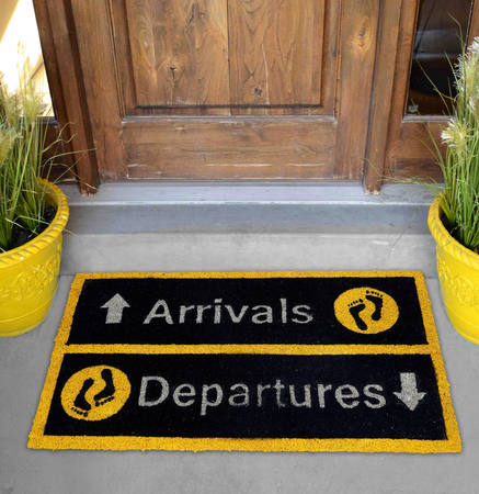 Beautiful Yellow and black Arrivals and Departures Outdoor Door mat with foot step Outside home with 2 flower pot
