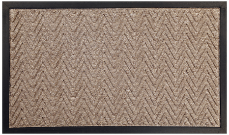 Black beige zig zag pattern rubber and woolen doormat