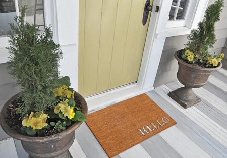 """Klassieke beige en zilveren zute / kokos buitendeurmat met """"Hallo"""" tekst buiten huis met gele bloempotten"""