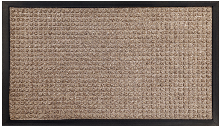 Black beige dotted pattern rubber and woolen doormat