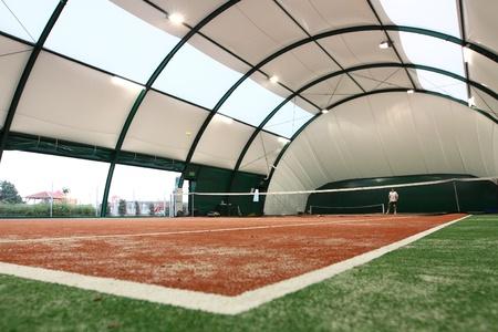 Indoor tennis court.