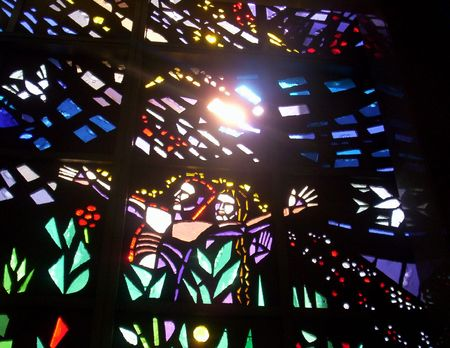 artistry: Sun shining through Stained Glass Windows
