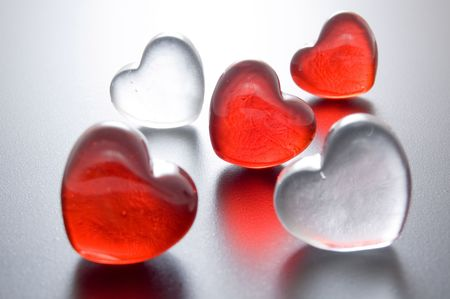 accumulation: red glass hearts