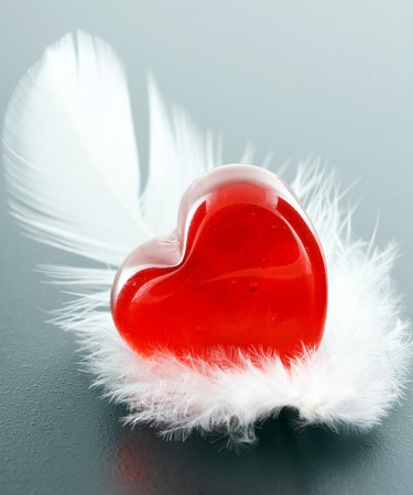 plume: heart on a feather Stock Photo