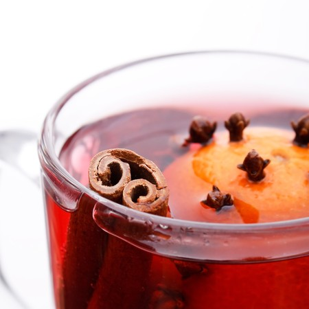 mulled wine with cinnamon stick photo