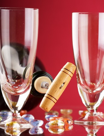 Opening wine bottle with glass photo