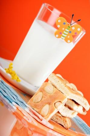 Breakfast of milk with cookies Stock Photo - 4562698