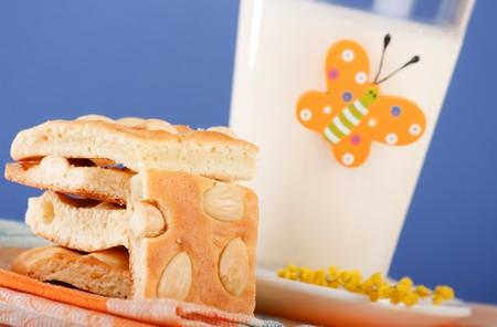 Breakfast of milk with cookies Stock Photo - 4562643