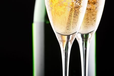 traditional celebrations: Champagne in  glasses