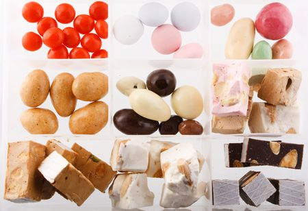 colored sweets on a white background photo