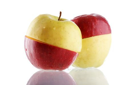 The creative apple combined from two half of red and yellow color