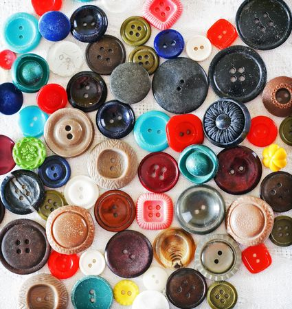 Assorted buttons as colorful background. photo