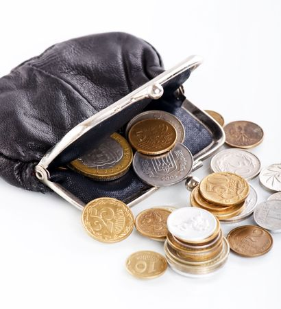 change purse: old leather purse