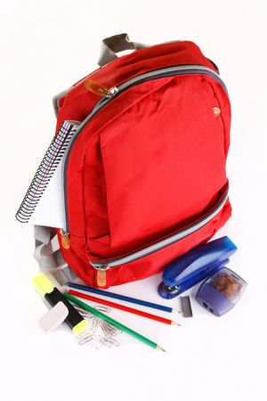 bookbag: book bag of school supplies Stock Photo