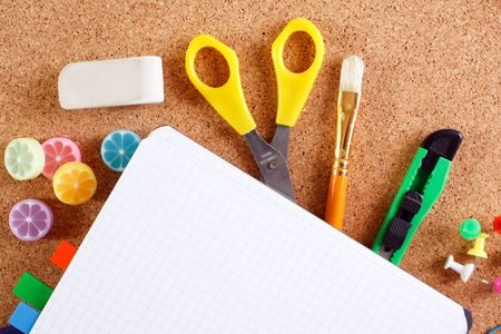 view of the office tools on cork board Stock Photo - 5376044