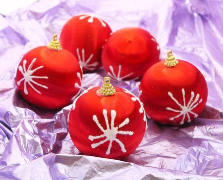 Red christmas balls Stock Photo - 5663904