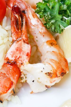 king tiger prawn shrimp with rice Stock Photo - 5840769
