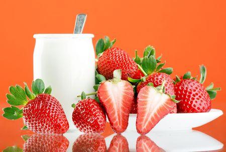 Fresh and tasty strawberries and yogurt  photo