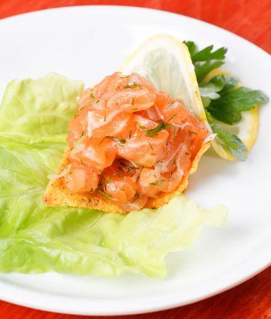 corn tortilla: corn tortilla chips and salmon