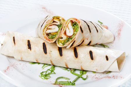 tortilla wrap: Tortilla Wrap Cut en Half  Foto de archivo