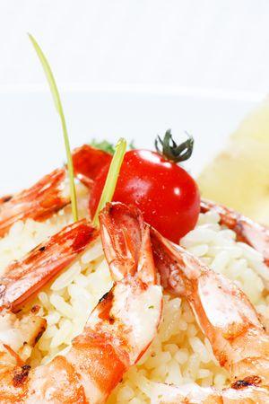 king tiger prawn shrimp with rice Stock Photo - 5967344
