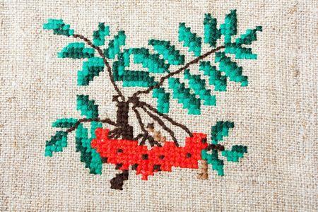 mountain ash: Embroidery - mountain ash  Stock Photo
