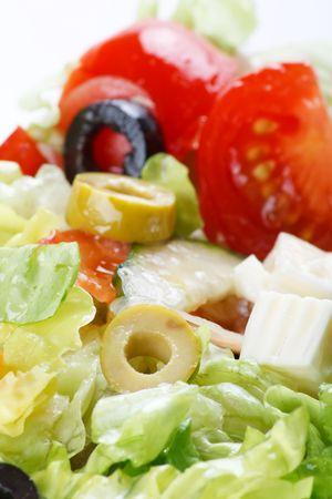 Vegetable salad with feta photo